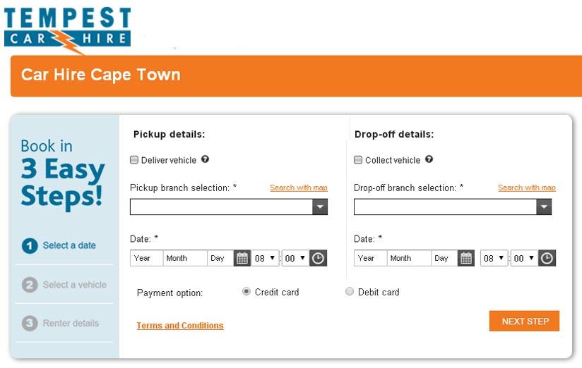 Tempest Johannesburg Airport Car Hire online book